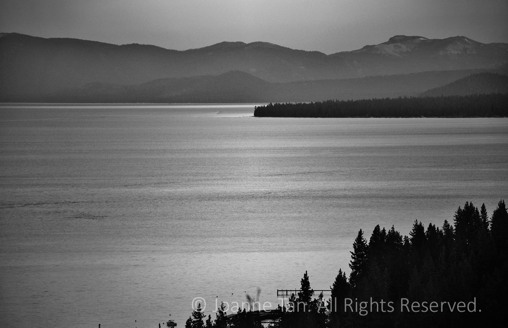 P-landscape - Twilight, B&W, Lake Tahoe, CA