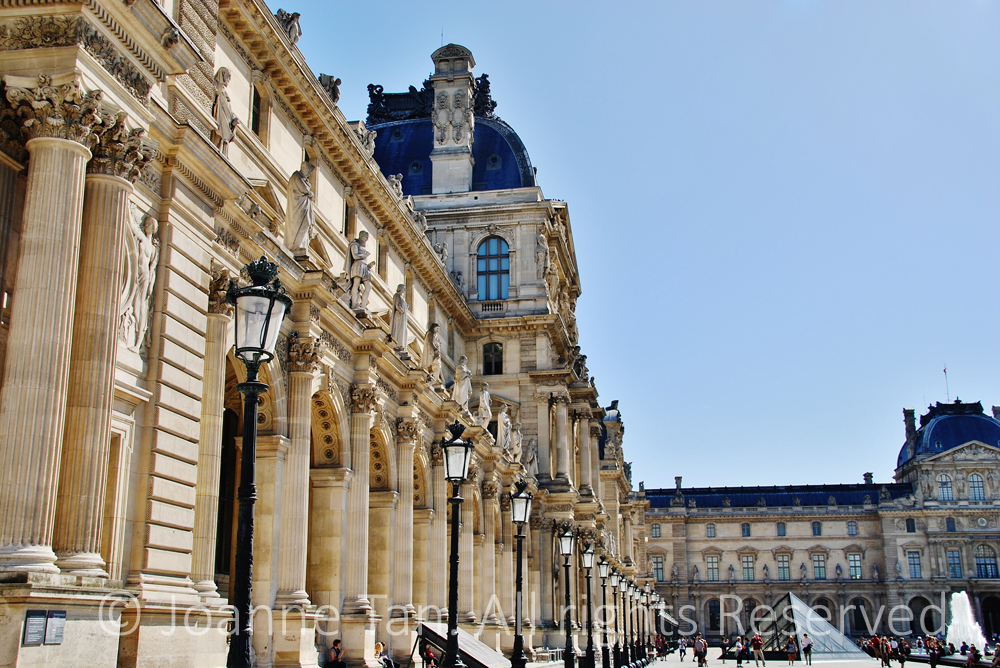 p - Architecture - Sculpture - Columns, Lamp Posts, Water, Louvre Palace Exterior, Paris, France