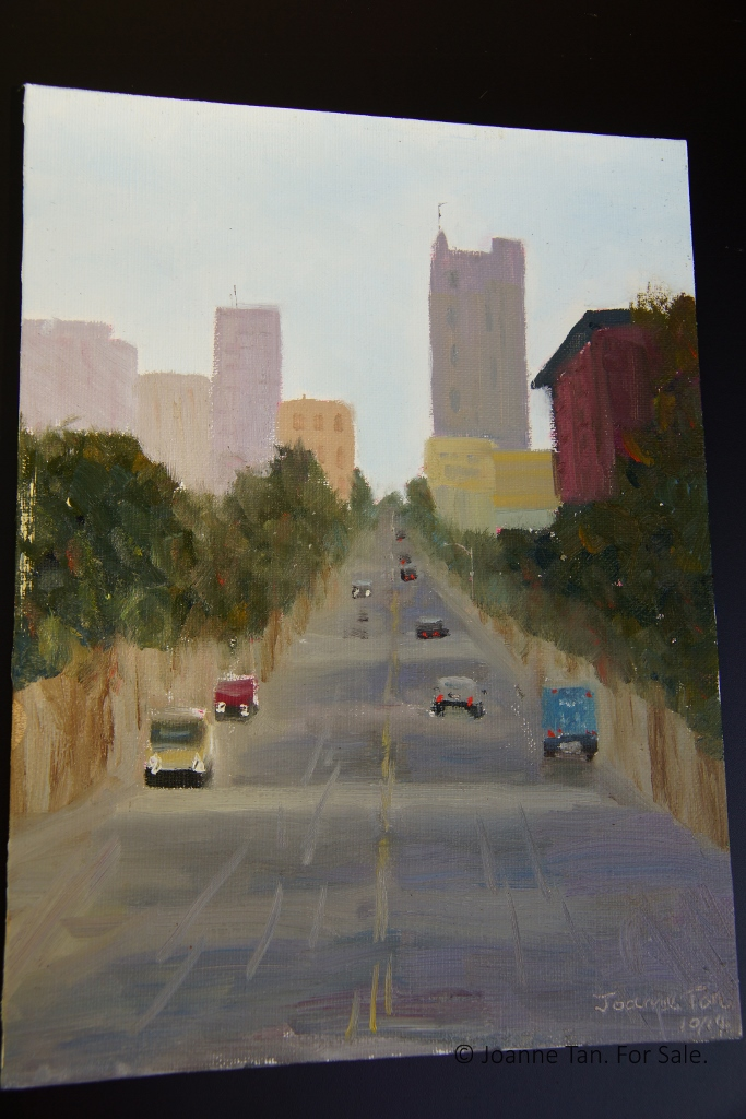 oil painting - San Francisco's Uphill Street & Cityscape - Joanne Tan (683x1024)